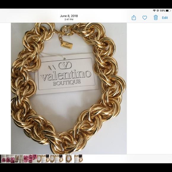 VALENTINO BOUTIQUE GOLD TONE SIGN STATEMENT CHOKER